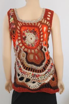 Chic Boho Hippie Chunky Freeform Crochet Vest Top by levintovich