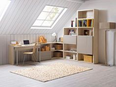 PREFACE - Library listing with doors and drawers, 3 differents heights in natural oak and grey lacquered. SETIS - Desk en natural oak and steel feet. Home Desk, Home Office, Attic Bedrooms, Teen Bedrooms, A Frame Cabin, Reading Nook, Sweet Home, New Homes, Loft