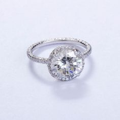 FRED LEIGHTON Micro Pave 3 carat Diamond Solitare Ring at 1stdibs