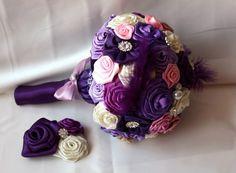 Букет невесты из атласных лент