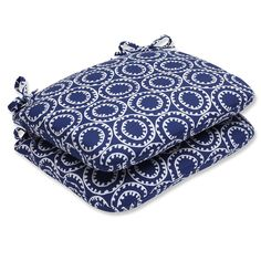 Ring a Bell Navy Rounded Corners Seat Cushion (Set of 2)