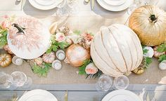 Floral Runner with Glittering Pumpkins | Megan Robinson Photography and Leslie Dawn Events | Blush and Rose Gold Woodland Wedding Shoot