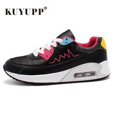 KUYUPP Sport Women Causal Shoes Breathable Trainers Size 35-40 Red Flat With Ladies Shoes Lace Up Outdoor Walking Shoes S288
