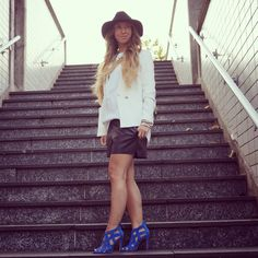 Hat blazer and shorts H&M,Blouse and heels Zara www.giientjeee.blogspot.nl @Giientjeee
