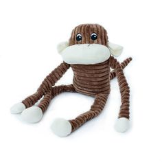 Spencer is an inquisitive monkey that loves to be flopped around!  The variety of noises keep dogs thoroughly entertained.  - Inside: 1 Blaster squeaker, 1 rattle, crinkle material in limbs - Great for dogs of all sizes  Body dimensions: 8 x 4 x 4 inches Total length (including legs): 17 inches    WaggMore recommends supervising your pet while he or she is playing with any toy.