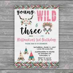 Young Wild and Three Birthday Invitation Tribal Birthday