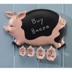 Pig Family Kitchen Chalkboard And Measuring Spoons by Winston Brands Pig Kitchen, Family Kitchen, Kitchen Items, Kitchen Decor, This Little Piggy, Little Pigs, Pig Family, Kitchen Chalkboard, Pig Pen