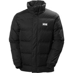 Helly Hansen Dubliner High-Neck Down Jacket ($250) ❤ liked on Polyvore featuring men's fashion, men's clothing, men's outerwear, men's jackets, black and helly hansen mens jacket
