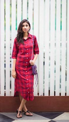 Ideas For Sewing Shirt Dress Girls Salwar Designs, Blouse Designs, Western Dresses, Indian Dresses, Red Shirt Dress, Dress Red, Tunic Shirt, Vestido Casual, Girls Dresses