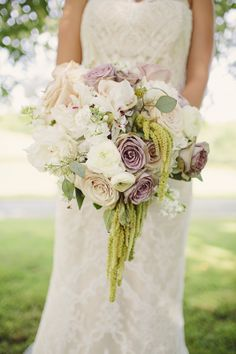 The perfect white and soft purple bouquet