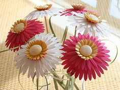 Cute tutorial on how to make a bouquet of paper daises