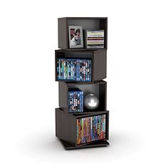Fun and functional, the rotating capability of the Rotating Media Cube 216 Storage Unit's individual cubes is its most striking characteristic. The unit's four individual cubes are stacked one atop the other and connected along a central axis, allowing all but the bottom cube a full... more details available at https://furniture.bestselleroutlets.com/game-recreation-room-furniture/tv-media-furniture/media-storage/product-review-for-media-storage-tower-for-cds-dvds-f