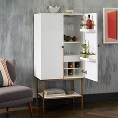 Downing Bar Cabinet - White/Antique Brass #westelm