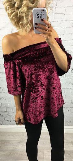 Fashion Elastic Off Shoulder Short Sleeve Velvet Blouse