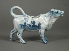 RARE Antique Delft Blue & White Porcelain Cow Creamer Dutch Holland No ... globalgaragesale.net