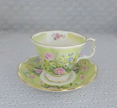 I love lime green! This tea cup and saucer is beautiful.
