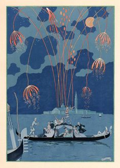 Les Fêtes Galantes (Fireworks in Venice) de Paul Verlaine, illustrations de George Barbier