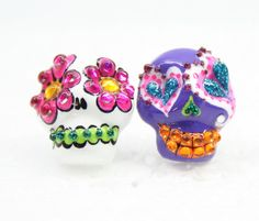 Skull in a-day is the day of the dead earrings E0038