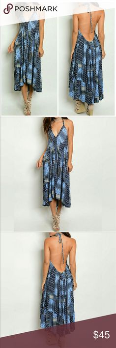 Open back midi dress Open back midi dress with plunging neckline.....Fabric: rayon Threadzwear Dresses Backless