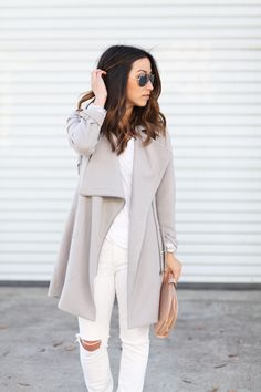 Gray drape front trench coat