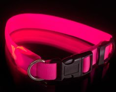 USB rechargeable LED illuminated safety COLLAR for medium size dogs - blue, pink, neck circumf. max 38 cm cm / max 14.9 in by VictorExtra on Etsy