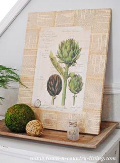 Book page botanical art. 5 Diy Beautiful Botanical Wall Hangings - diy Thought Book Crafts, Arts And Crafts, Diy Crafts, Recycled Crafts, Diy Wall Art, Diy Art, Wall Decor, Craft Art, How To Make Diy