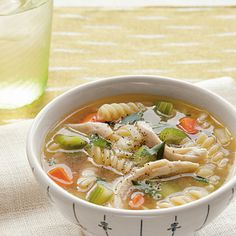 Enjoy a bowl of the ultimate comfort food featuring tender vegetables, shredded chicken and gluten-free fusilli.