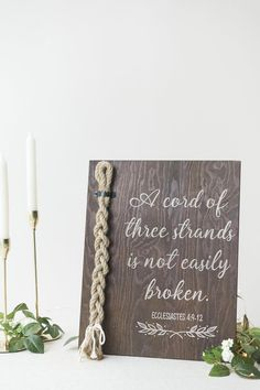 Wedding Day Strand of Three Cords Wedding Ceremony Sign - A Cord of Three Strands is not Easily Broken - Dimensions: H x 12 W Design: This rustic wedding sign is stained with white vinyl lettering and jute rope cords. When you receive. Wedding Ceremony Ideas, Wedding Tips, Wedding Events, Wedding Planning, Dream Wedding, Wedding Images, Backyard Wedding Receptions, Wedding Sign In Ideas, Cheap Wedding Ideas