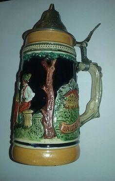 """Vintage German Beer Stein with Hinged Lid Unmarked 7"""""""
