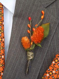 Orange wedding boutonniere. $12.00, via Etsy. I like the jute wrap and how simple this looks