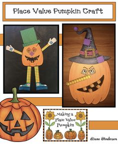 "Hallowee activities: Adorable Place Value Pumpkins! Cute craft is a super-fun way to practice place value. Tons of ""pieces & parts"" options, so pumpkins can be simple for little ones to make with a two-digit number, or made with more ""stuff"" to create pumpkins with higher, 3 & 4-digit values.  Completed projects make a ""Wow!"" bulletin board. Perfect activity for Halloween party day too. :-) NIce photographs of completed pumpkins to use as inspiration & generate excitement."