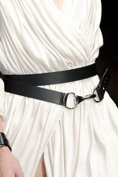Draped white dress & leather belt, close up fashion details // Amanda Wakeley Spring 2012
