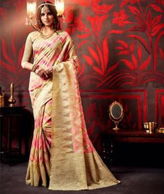 Buy Beige Silk Saree With Blouse 75629 with blouse online at lowest price from…