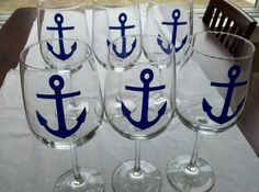 Anchor wine glasses 6 nautical themed