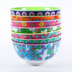 Fabulous melamine printed bowls by RICE at www.pinksandgreen.co.uk
