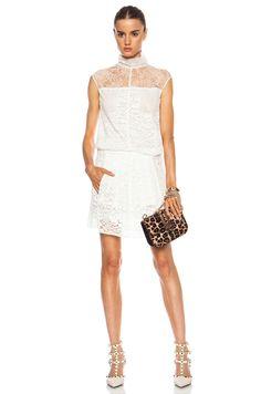 Image 1 of Nina Ricci Lace Turtleneck Dress in White
