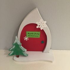 Hand Decorated Elf Entrance to the North Pole!  Elf Door allows Santas Elves a convenient route between your house and Santas Workshop in the