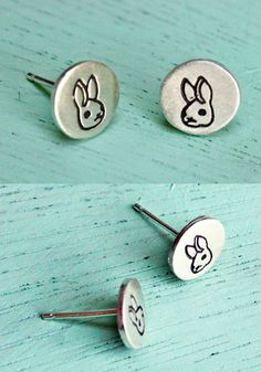 """You will receive this pair of sterling silver stud earrings featuring my original bunny drawings! Designed to be happy and wearable on any occasion, each little stud measures approximately 5/16"""" wide"""