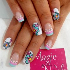 summer nail art ideas you'll wish to try 22 ~ thereds. Cute Spring Nails, Summer Nails, Hello Nails, Mandala Nails, Animal Nail Art, Tribal Nails, Fall Nail Art Designs, Magic Nails, Girls Nails