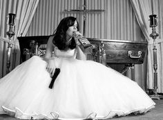 married,  gun, white, dress, girl, hair, drink