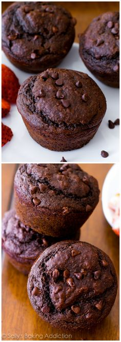 Double Chocolate Muffins from . You will not even realize these double chocolate muffins are lightened-up and low fat!Skinny Double Chocolate Muffins from . You will not even realize these double chocolate muffins are lightened-up and low fat! Healthy Chocolate Muffins, Double Chocolate Chip Muffins, Chocolate Desserts, Chocolate Chocolate, Choc Muffins, Healthy Muffins, Yummy Treats, Delicious Desserts, Sweet Treats