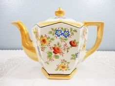 Antique Japanese Floral Porcelain Teapot with Lusterware Finish