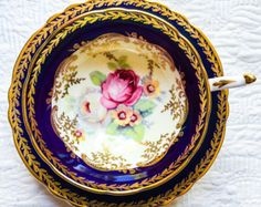 RESERVED FOR JOSEPHUS-Coveted Cobalt Gold Scroll Floral Paragon Double Warrant 1940's Teacup and Saucer - Edit Listing - Etsy