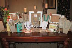 Great 2015 Spring Collection table display by #premierdesigns View this and more jewelry on my website: leslielaster.mypremierdesigns.com Catalog Access Code: LOVE (all caps) If you would like to order call me or email. The contact info is posted on my website.