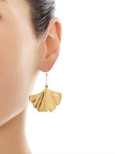 Aurélie Bidermann Fine Jewellery Ginkgo yellow-gold earrings