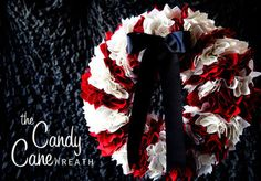 DIY Candy-cane Striped Holiday Wreath