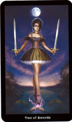 """(2014-04-30) The steampunk tarot, Two of Swords: """"Another barrier between people is a deadlocked situation. When two parties are set in their positions – cut off from each other – there is a stalemate. To break it, the 'opponents' must come out from behind their swords and listen to each other. The lesson of the Two of Swords is that barriers are not the answer. We must stay open if we are to find peace and wholeness."""" -Learning The Tarot (Joan Bunning)"""