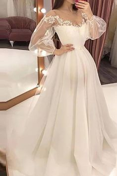 white long sleeves v-neck prom dress,applique tulle lace evening dress on Storenvy Evening Dresses With Sleeves, V Neck Prom Dresses, Day Dresses, Evening Gowns, Sleeve Dresses, Dress Prom, Evening Party, Occasion Dresses, Elegant Maxi Dress