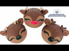 Todays cake video is Cute Reindeer Cupcakes. These are the second video in a series of 6 new Christmas Cake Videos. They go nicely alongside Rudolph the Cute. Christmas Cupcakes Decoration, Christmas Cake Topper, Holiday Cupcakes, Cupcake Tutorial, Cake Topper Tutorial, Cupcake Cake Designs, Cupcake Cakes, Fondant Cupcakes, Cupcake Toppers