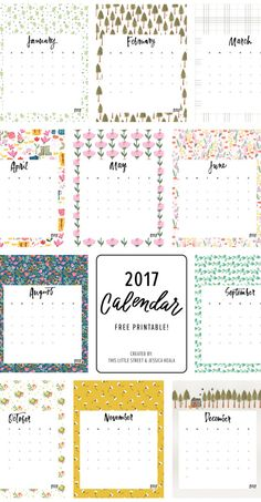 Printable free 2017 Calendar : This Little street